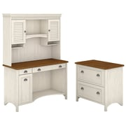 "Bush Furniture Stanford Computer Desk with Hutch and 2 Drawer Lateral File Cabinet, 48""W Antique White/Tea Maple (STF006AW)"