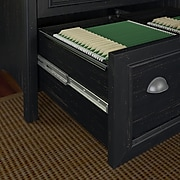 Bush Furniture Fairview 48W Computer Desk with 2 Drawer Lateral File Cabinet, Antique Black and Hansen Cherry, (STF007AB)