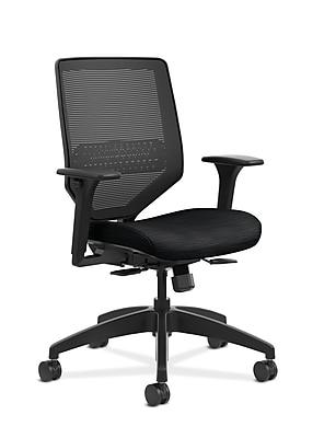 HON Solve Mid-Back Task Chair, Titanium ReActiv Back, Black Frame, Easy Assembly, Ink Seat Fabric NEXT2018 NEXTExpress