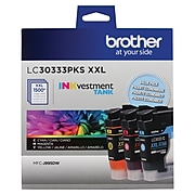 Brother LC3033 Cyan/Magenta/Yellow Super High Yield Ink Tank Cartridge, 3/Pack