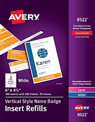 photo relating to Avery Printable Tickets named Avery Vertical Status Badge Inserts, 6\