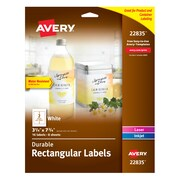 "Avery Durable Labels, Permanent Adhesive, 3-1/4"" x 7-3/4"", Rectangle, 16 Labels (22835)"
