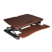 "Seville Classics AIRLIFT® Pneumatic Dual Monitor Sit-to-Stand Adjustable Riser Converter Desk, 35.4"" Wide, Walnut (OFF65840)"