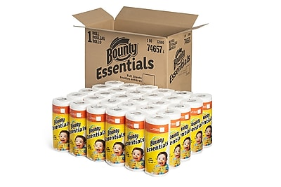 Bounty Essentials Full Sheet Paper Towels, 2-Ply, White, 40 Sheets/Roll, 30 Rolls/Carton (74657)