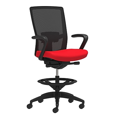 Staples Workplace Series 500 Fabric Stool, Ruby Red, Adjustable Lumbar, Fixed Arms, Synchro-Tilt, Partial Assembly Required
