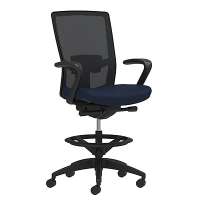 Staples Workplace Series 500 Fabric Stool, Navy, Adjustable Lumbar, Fixed Arms, Synchro-Tilt, Partial Assembly Required