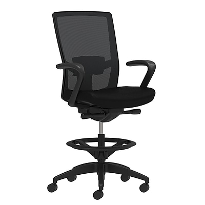 Staples Workplace Series 500 Fabric Stool, Black, Adjustable Lumbar, Fixed Arms, Synchro-Tilt, Partial Assembly Required