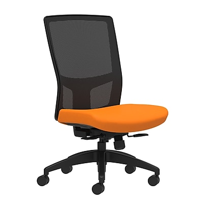 Workplace Series 500 Fabric Task Chair, Apricot, Integrated Lumbar, Armless, Synchro-Tilt with Seat Slide Seat Control (53614)