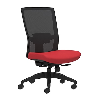 Workplace Series 500 Fabric Task Chair, Cherry, Adjustable Lumbar, Armless, Synchro-Tilt with Seat Slide Seat Control (53615)