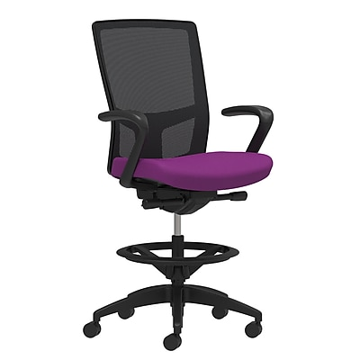 Workplace Series 500 Fabric Stool, Amethyst, Integrated Lumbar, Fixed Arms, Synchro-Tilt Seat Control (53848)