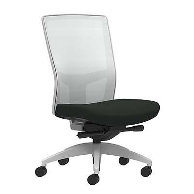 Workplace Series 500 Task Chair, Black Vinyl, Integrated Lumbar, Armless, Advanced Synchro-Tilt Seat Control (53572)