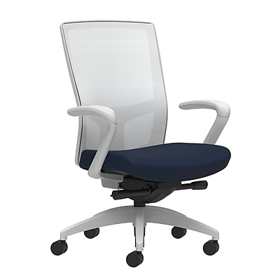Workplace Series 500 Fabric Task Chair, Navy, Integrated Lumbar, Fixed Arms, Advanced Synchro-Tilt Seat Control (53596)