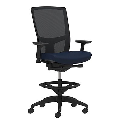 Workplace Series 500 Fabric Stool, Navy, Integrated Lumbar, Height & Width Adjustable Arms, Synchro-Tilt Seat Control (53844)