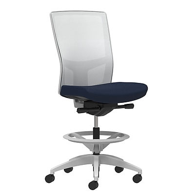 Staples Workplace Series 500 Fabric Stool, Navy, Integrated Lumbar, Armless, Synchro-Tilt, Partial Assembly Required
