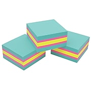 """Post-it® Super Sticky Notes Cube, 3"""" x 3"""", Bright Colors, 360 Sheets/Cube, 3 Cubes/Pack (2027SSAFG-3PK)"""