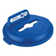 Rubbermaid Mixed Recycling Plastic Lid for 32 Gallon BRUTE® Containers, Blue (2018215)