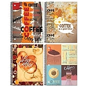 """Inkology Coffee 1 Subject Notebook, College Ruled, Assorted, 10.5"""" x 8"""", 12 Pack (3779)"""