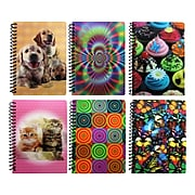 """Inkology Lenticular 1 Subject Notebook, College Ruled, Assorted, 7"""" x 5"""", 12 Pack (2918)"""