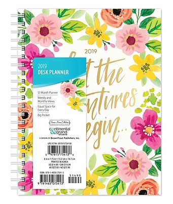 2019 Browntrout 6 X 7 75 Bonnie Marcus Weekly Desk Planner