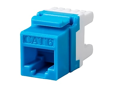 Monoprice Cat6 RJ-45 180-Degree Punch Down Keystone Jack Short body 28mm Blue (127555)