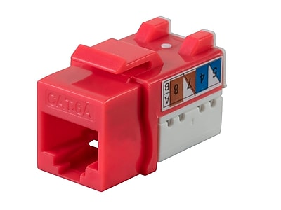 Monoprice Cat6A 90 Degree Unshielded Punch Down Keystone Jack Dual Type IDC 25 Pack Red (124510)