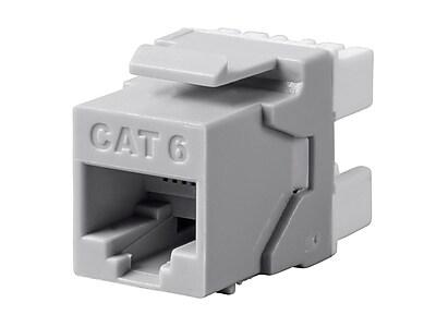 Monoprice Cat6 RJ-45 180-Degree Punch Down Keystone Dual IDC Gray (127549)