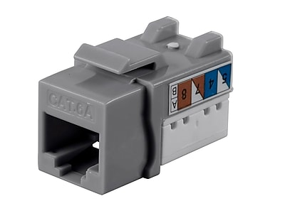 Monoprice Cat6A 90 Degree Unshielded Punch Down Keystone Jack Dual Type IDC 25 Pack Gray (124508)