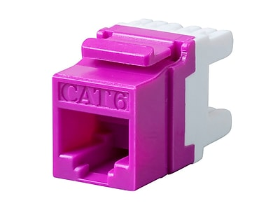 Monoprice Cat6 RJ-45 180-Degree Punch Down Keystone Jack Short body 28mm Purple (127562)