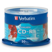 Verbatim 700MB 80MIN 52X Silver Inkjet Printable CD-R Spindle, 50/Pack (95005)