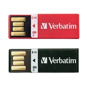 Verbatim 8GB Clip-It USB 2.0 Flash Drive, 2 Pack, Assorted Colors (99156)