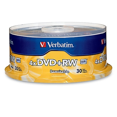 Verbatim 4.7GB 4X DVD+RW Spindle, 30/Pack (94834)