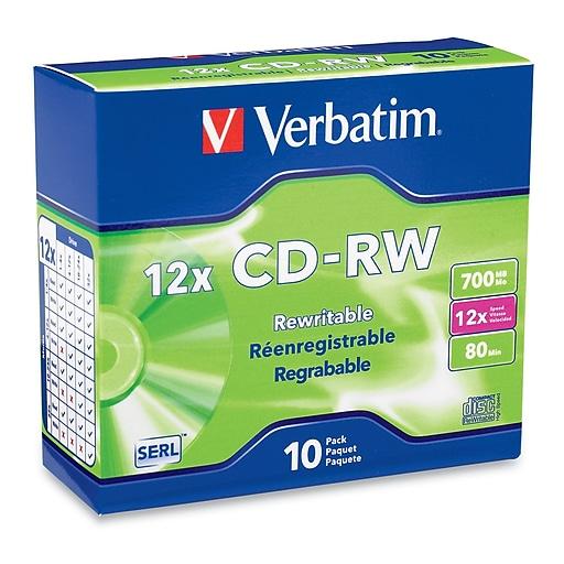 Verbatim 700MB 80MIN 12X High Speed CD-RW Slim Jewel Case, 10/Pack (95156)