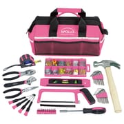 Apollo Tools Household Tool Kit in a Soft-Sided Tool Bag Pink, 201 Piece (DT0020P)