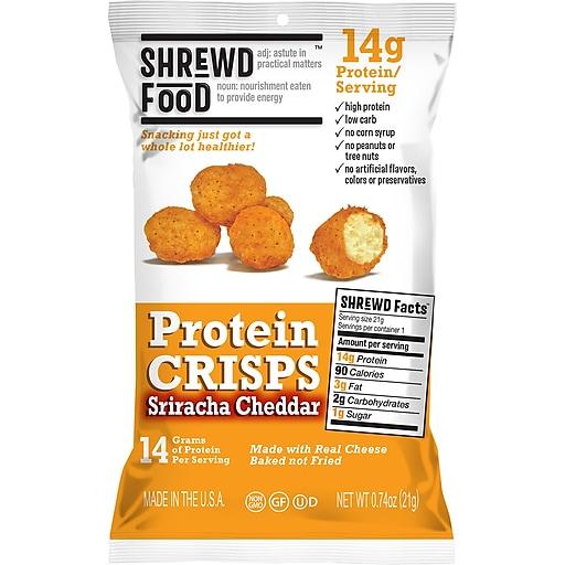 Shrewd Food Protein Crisps Sriracha Cheddar, 0.74 oz, 8 Count (265-00013)