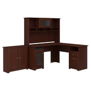 Bush Furniture Cabot L Shaped Desk with Hutch and Small Storage Cabinet with Doors, Harvest Cherry (CAB016HVC)