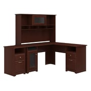 Bush Furniture Cabot L Shaped Desk with Hutch and 2 Drawer File Cabinet, Harvest Cherry (CAB018HVC)