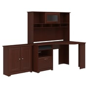 Bush Furniture Cabot Corner Desk with Hutch and Small Storage Cabinet with Doors, Harvest Cherry (CAB022HVC)