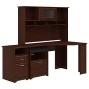 Bush Furniture Cabot Corner Desk with Hutch and 2 Drawer File Cabinet, Harvest Cherry (CAB024HVC)