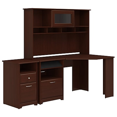 Etonnant Bush Furniture Cabot Corner Desk With Hutch And 2 Drawer File Cabinet,  Harvest Cherry (CAB024HVC)
