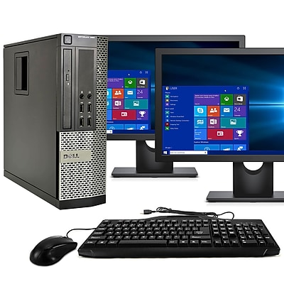 "Dell Desktop Computer 990 Optiplex Intel  I5,16GB, 500GB HDD, Windows 10 Pro, Dual 19"" LCD, Keyboard, Mouse, Wifi, Refurbished"