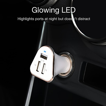 LAX 3-USB Port Car Charger 4.8A for Smartphones - White (LAX3PORTCAR-WHT)