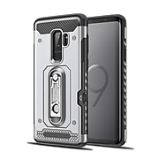 Hybrid Shockproof Protective TPU Case with Card Slot Holder Stand Cell Phone Case for Samsung Galaxy S9 Plus - Metallic Silver