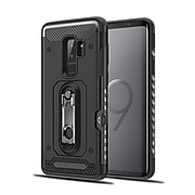 Hybrid Shockproof Protective TPU Case with Card Slot Holder Stand Cell Phone Case for Samsung Galaxy S9 Plus - Classic Black