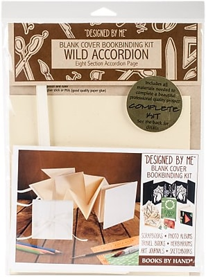 Books By Hand Designed By Me Blank Cover Bookbinding Kit-Wild Accordion Album, Ivory 4.25