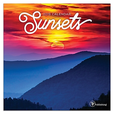 2019 sunsets mini calendar