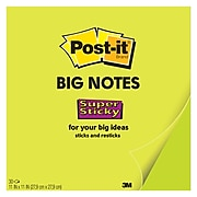 """Post-it® Super Sticky Big Notes, 11"""" x 11"""", Neon Green, 30 Sheets (BN11G)"""