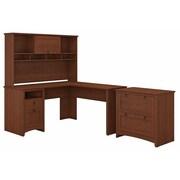 Bush Furniture Buena Vista L Shaped Desk with Hutch and Lateral File Cabinet, Serene Cherry (BUV005SC)
