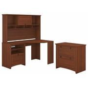 Bush Furniture Buena Vista Corner Desk with Hutch and Lateral File Cabinet, Serene Cherry (BUV007SC)