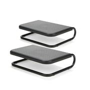 Mind Reader Metal Monitor Stand Riser, Chord Management for iMac/Printer/Laptop/PC, Holds 40 lbs., 2 Pack, Black (2CHORDMON-BLK)