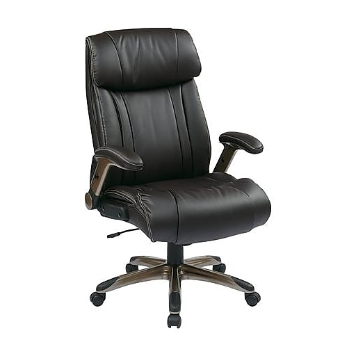 Office Star Eco Leather Executive Chair, Adjustable Arms, Espresso